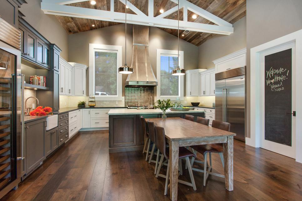 Best Eclectic Eat-In Kitchen With Glass Dining Table best kitchen remodels