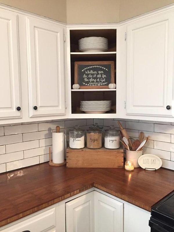 Best Farmhouse kitchen, butcher block, subway tile, open cabinets, kitchen  counter decor, decorating ideas for kitchen counters