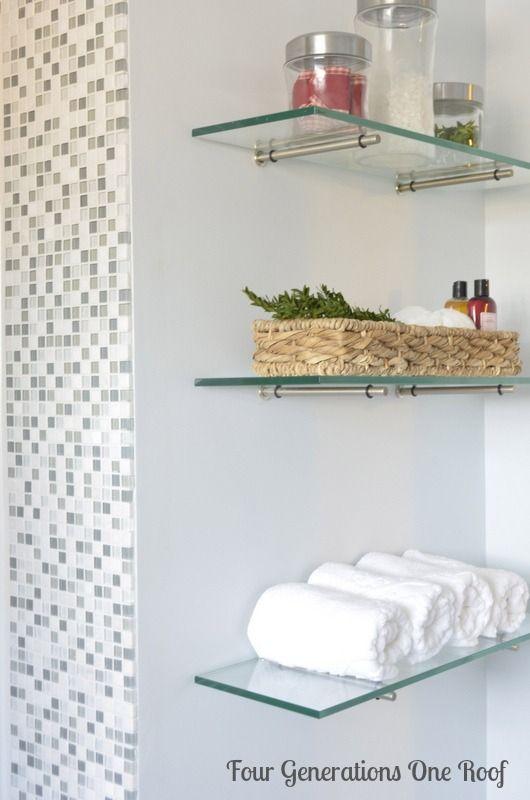 Best glass shelves powder room glass shelving for bathroom