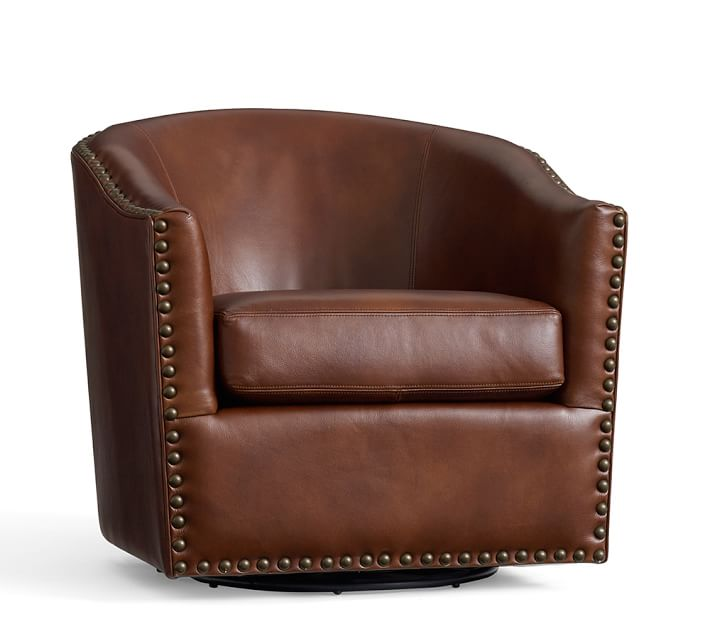 Best Harlow Leather Swivel Armchair | Pottery Barn swivel leather armchair