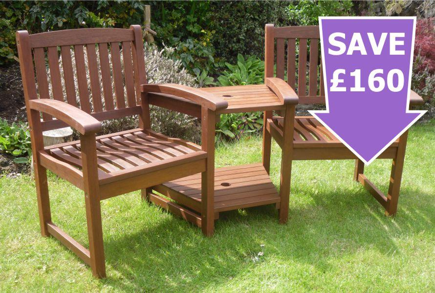 Best Henley Corner Love Seat Hardwood Garden Bench 1/2 Price Sale Now On garden love seat