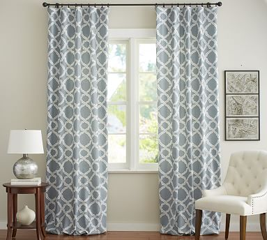 Best Kendra Trellis Pole Pocket Drape, 50 x 84 blue and white curtains