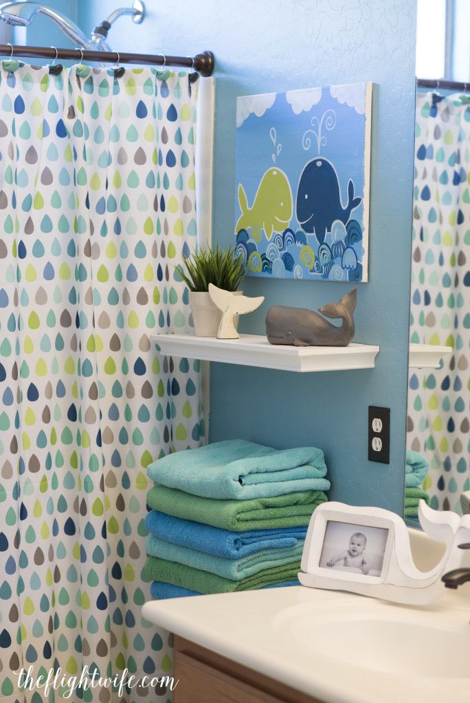 Best Kids Bathroom Makeover - Fun And Friendly Whales! LOVE THE idea of kids bathroom decorating ideas