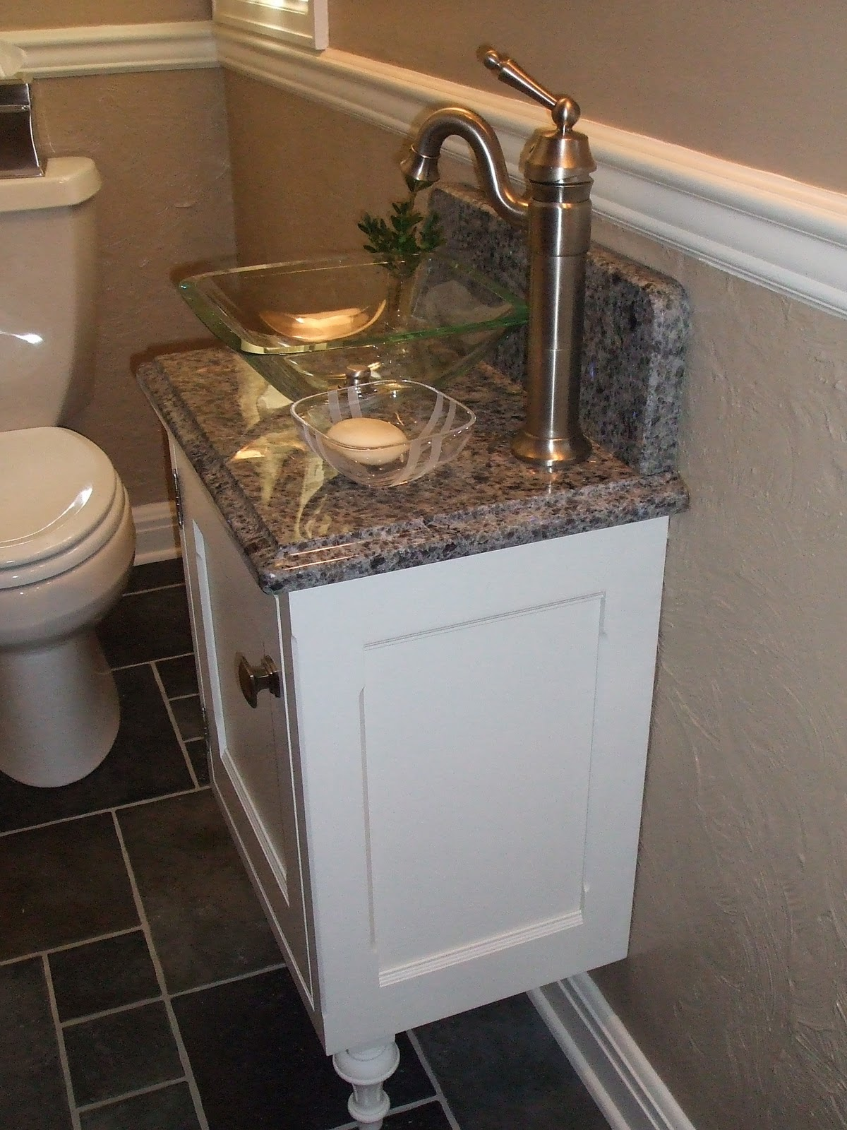 Best Luxurious White Small Vanity And Glass Bowl Sink On Gray Marble Tops As small powder room sink vanities