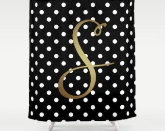 Best Monogrammed Shower Curtain, Black + White Polka Dot + Gold Monogram, Cute black and gold shower curtain