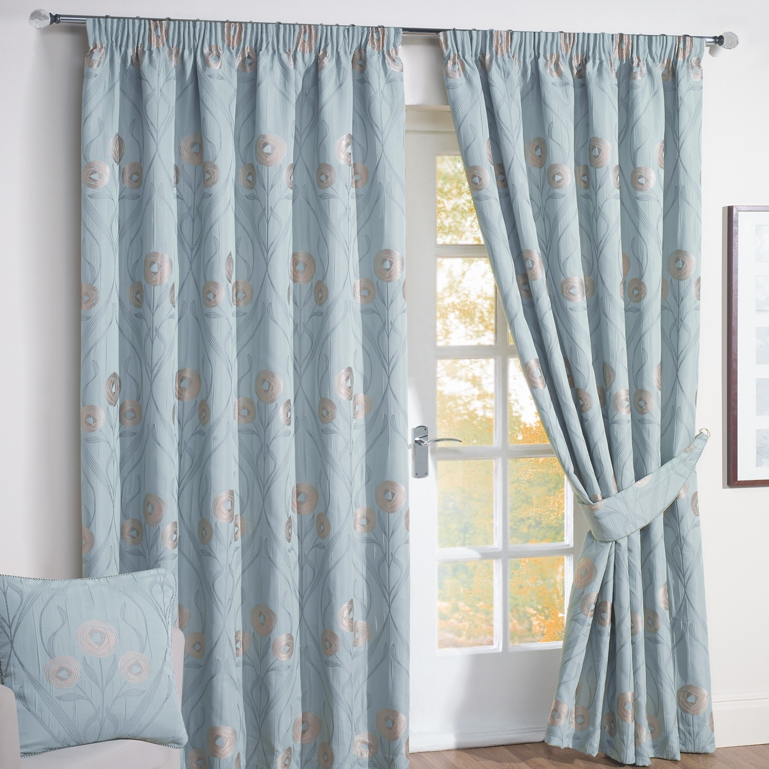 Best Montrose Duck Egg Blue Floral Jacquard Lined Curtains (Pair) duck egg blue curtains