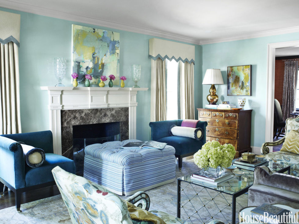 Cute The celestial airiness of walls lacquered in Benjamin Mooreu0027s Antiguan Sky  is best paint colors for living room