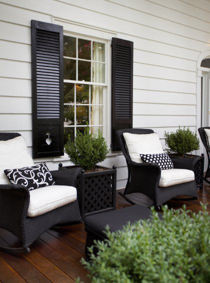 Best Paint shutters black to match wicker and black front door? would look great front porch furniture