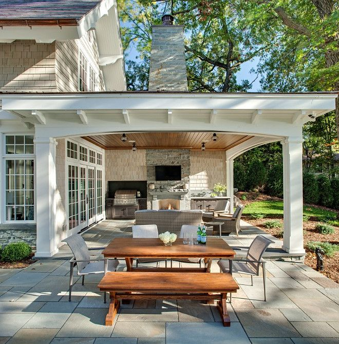Best Patio. Combination of open patio and covered patio with outdoor kitchen and covered patio with fireplace