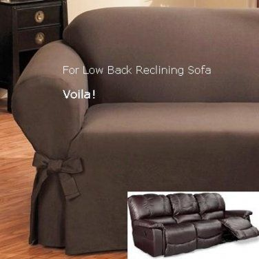 Best Reclining SOFA Slipcover Low Back Ribbed Texture Chocolate Adapted for Dual Recliner slipcover for reclining sofa