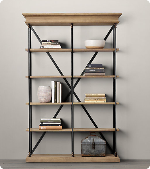 Best restoration hardware inspiration - $100 Wood and Metal Bookshelf metal and wood bookcase