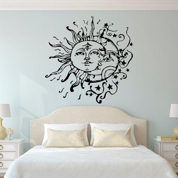 Best Sun Moon Stars Wall Decals For Bedroom- Sun and Moon Wall Decal Ethnic bedroom wall art stickers