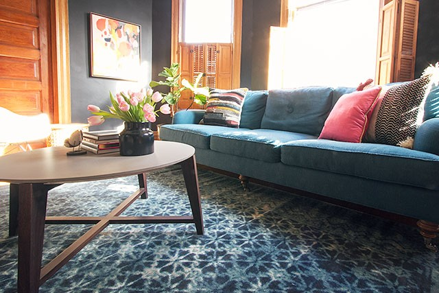 Best Teal Sofa, Black Walls, Blue Loloi Rug | Making it Lovely loloi rugs journey collection