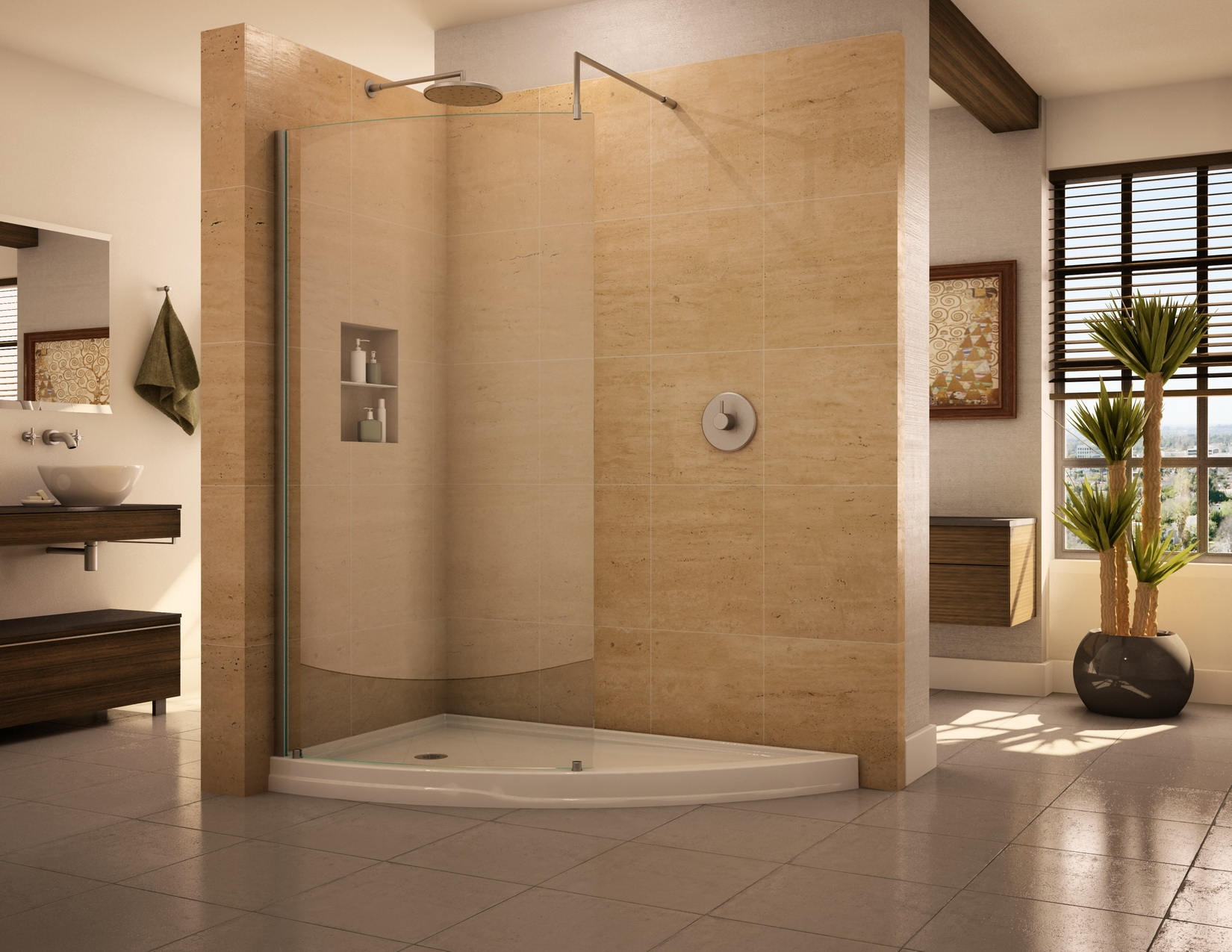 Best Use similar but slightly different materials for the shower. walk in showers without doors