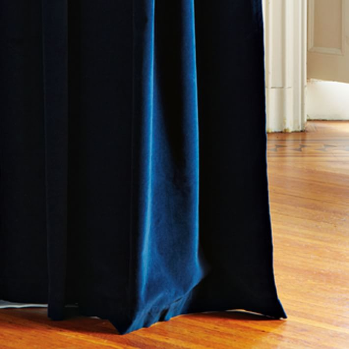 Best Velvet Grommet Curtain - Regal Blue | west elm blue velvet curtains