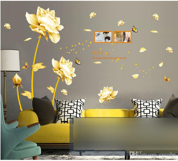Best Wall Stickers 165*145cm Golden Flowers Tulip Wall Decals Wall Sticker Home wall stickers home decor