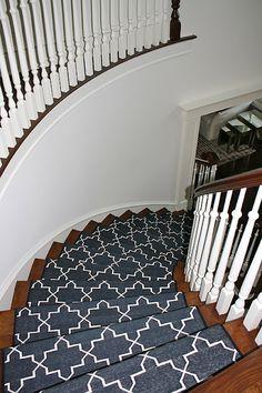 Best Madeline Weinrib Custom Black u0026 White Stair Runner, Design Serendipity  Interiors black and white stair runner