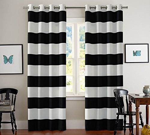 Elegant Turquoize Nautical Blackout Curtains(2 PANELS), Room Darkning, Grommet Top,  Light Blocking black and white striped curtains