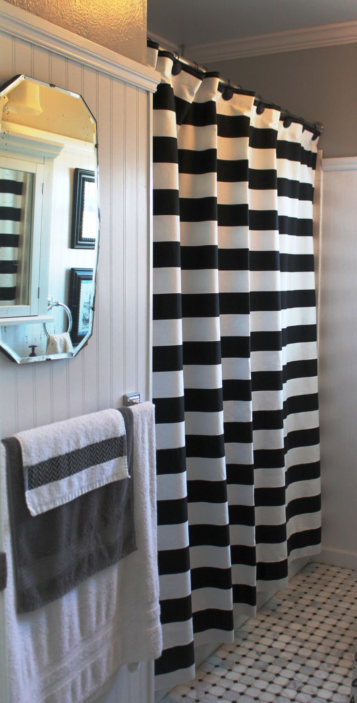 Cute 3 black and white striped shower curtain