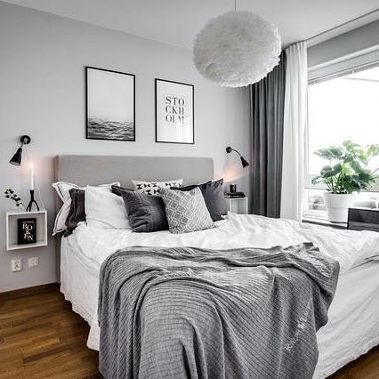Compact What a stunning bedroom! Beautifully styled by @stylingbolaget @henriknero  . #bedroom # black gray and white bedrooms
