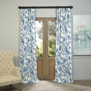 Best Exclusive Fabrics Indonesian Blue Printed Cotton Twill Curtain Panel blue and white floral curtains