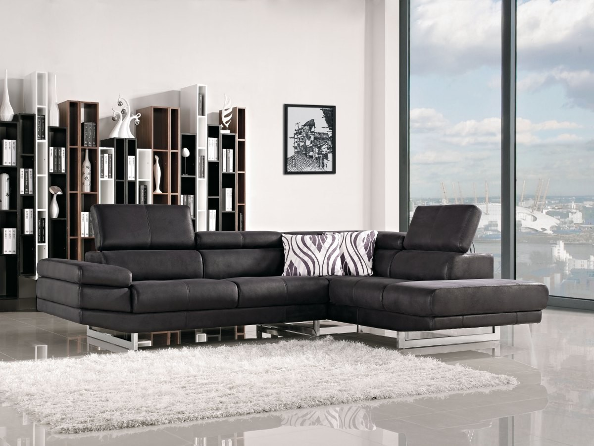 Chic 1166A Modern Black Fabric Sectional Sofa modern fabric sectional sofa