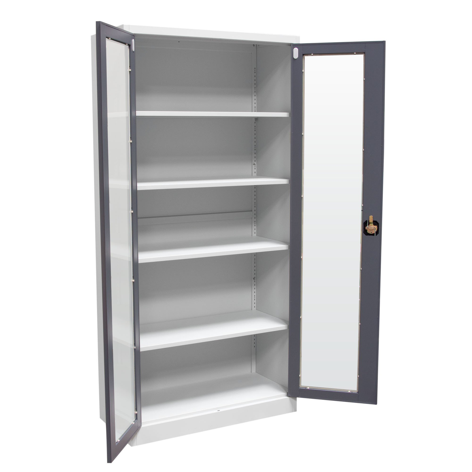 Chic ... 2-Door 5-Shelf Bookcase with Tempered Glass Door Front u0026 Key Lock Entry 2 shelf bookcase with glass doors
