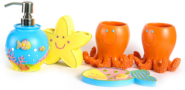 Chic 8. Cartoon Starfish Ocean Bathroom Accessory Set for Kids kids bathroom accessories sets