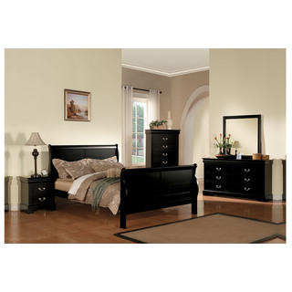 Chic Acme Furniture Louis Philippe III Black 4-Piece Bedroom Set black bedroom sets queen