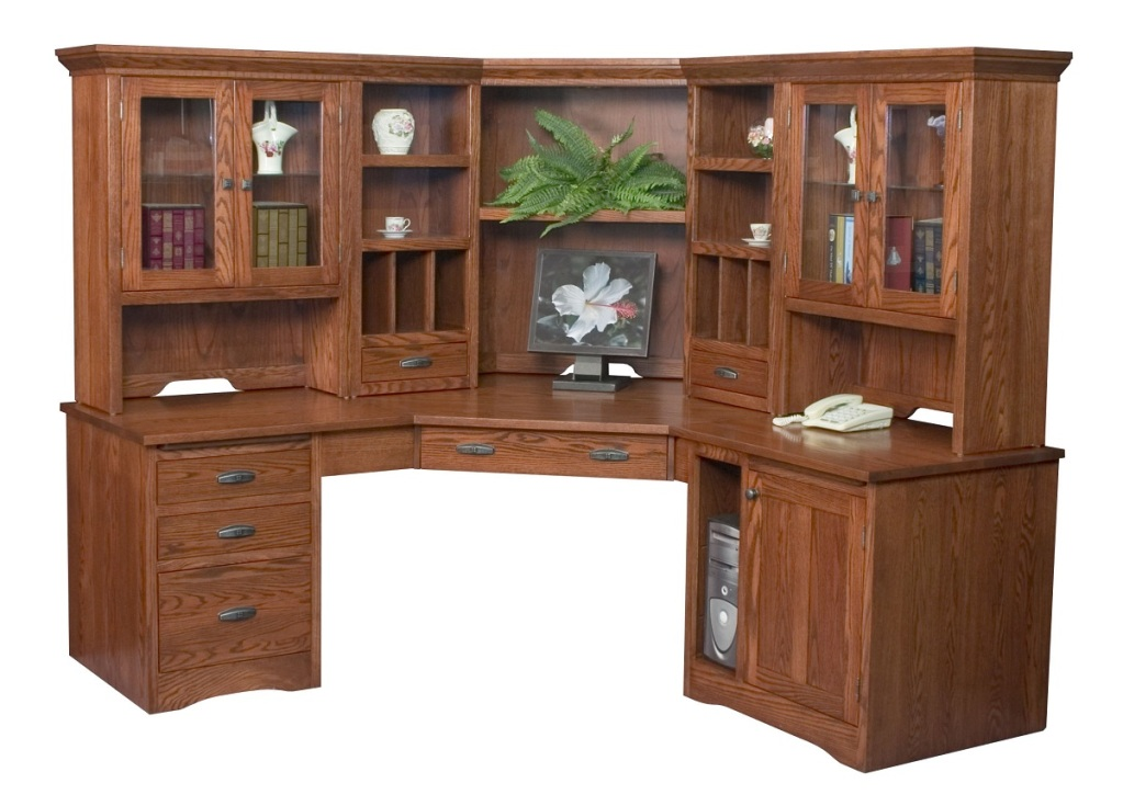 Chic Amish Large Corner Computer Desk Hutch Bookcase Home Office Solid Wood corner office desk with hutch