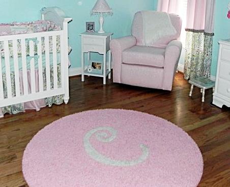 Chic Aqua, Light Pink u0026 White Nursery with Custom Initial Rug pink nursery rug