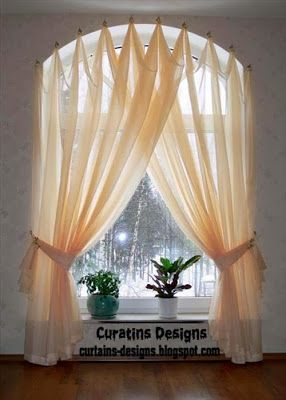 Chic Arched windows curtains on the hooks, Arched windows treatmentes - Curtain  designs window curtain design