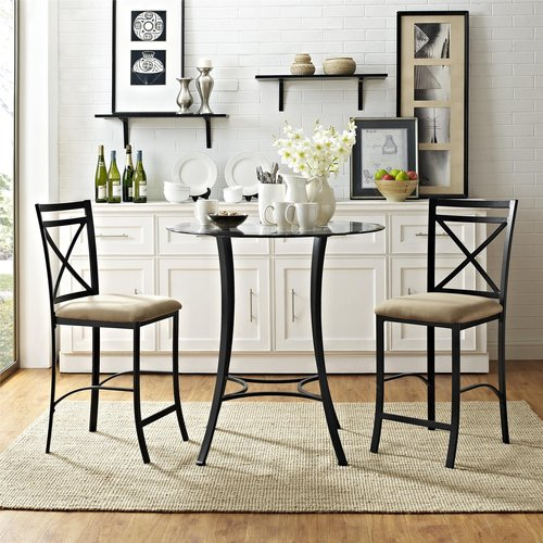 Chic Dorel Living Valerie 3-Piece Counter-Height Glass and Metal Dining Set small dining room sets