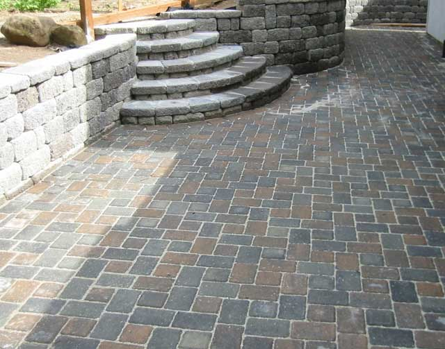 Chic Enchanting Paving Stone Design Ideas: Astounding Paver Patio And Steps ~ patio paving stones