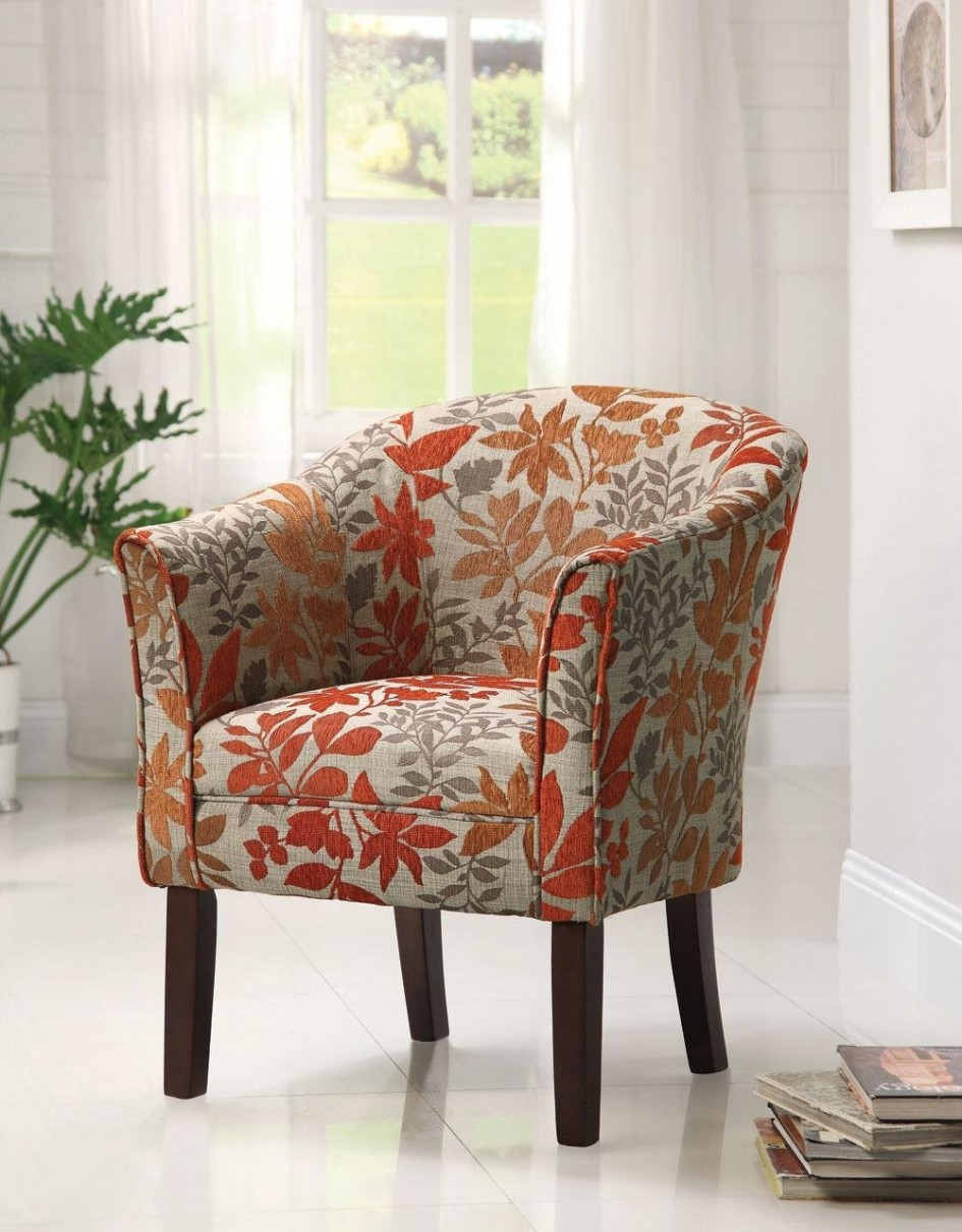 Chic Furniture, Red Leaves Floral Pattern Summer Accent Chairs Matching Pattern  Barrel Back floral sofas and chairs
