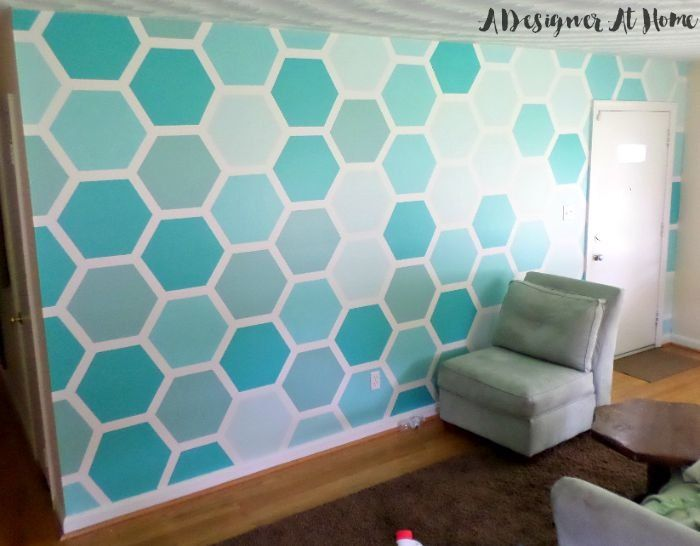 Chic How To Tape u0026 Paint Hexagon Patterned Wall interior wall paint design ideas