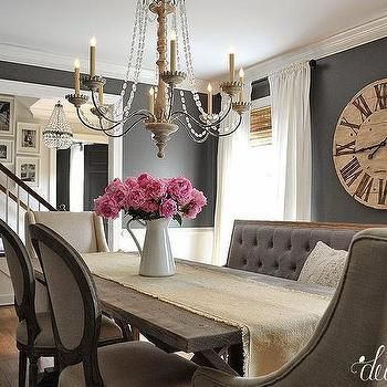 Chic I would keep the bench and one of the other chairs...Dark Gray Dining dining room paint colors dark furniture