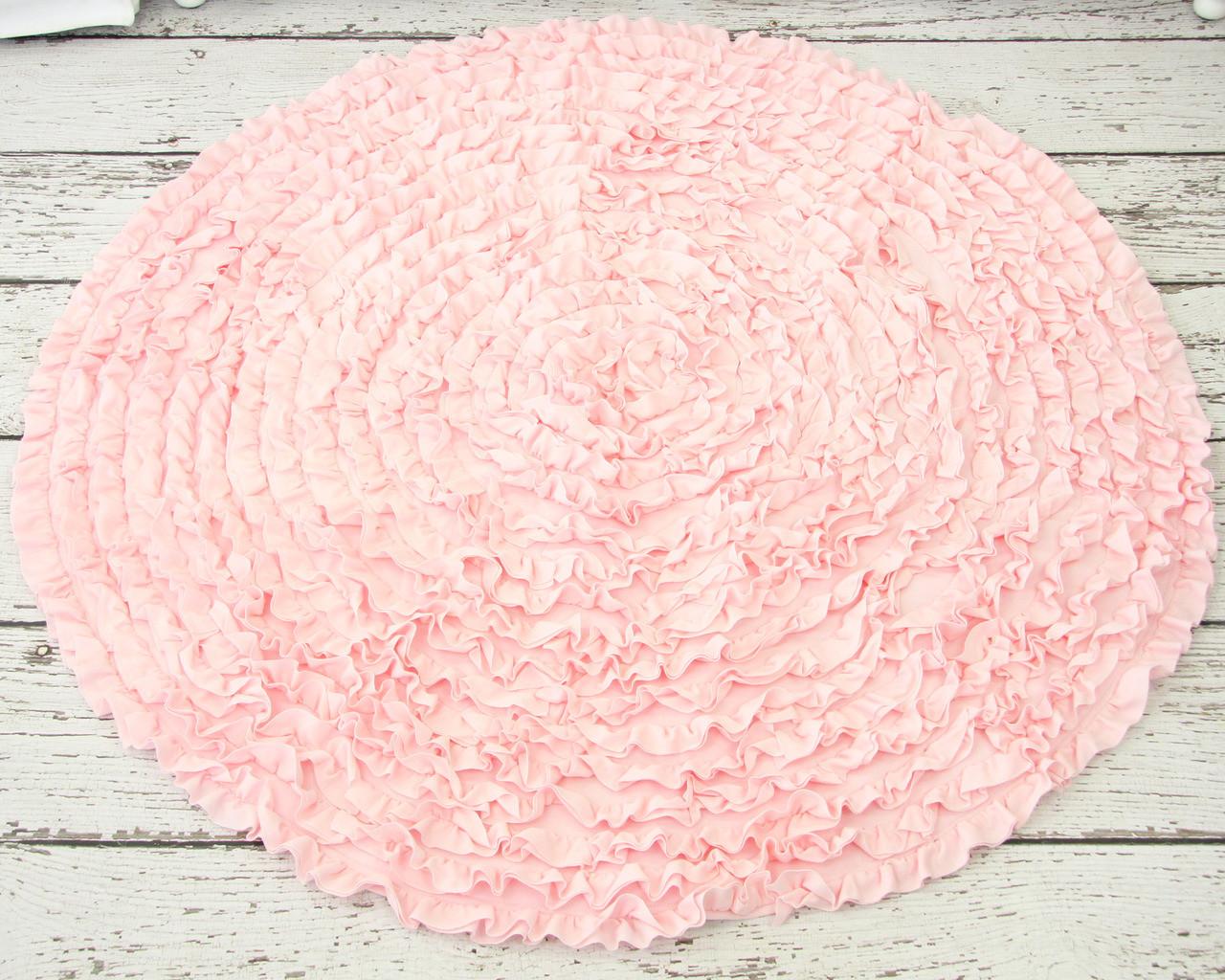 Chic ... Light Pink Round Ruffle Rug ... light pink rug