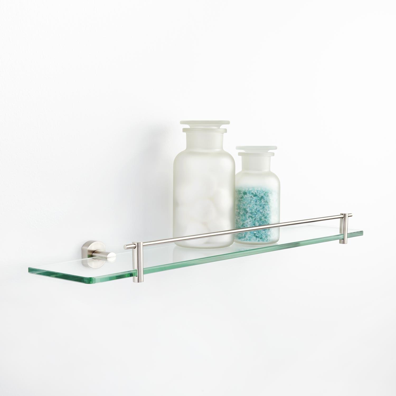 Chic Marlton Tempered Glass Shelf glass shelving for bathroom
