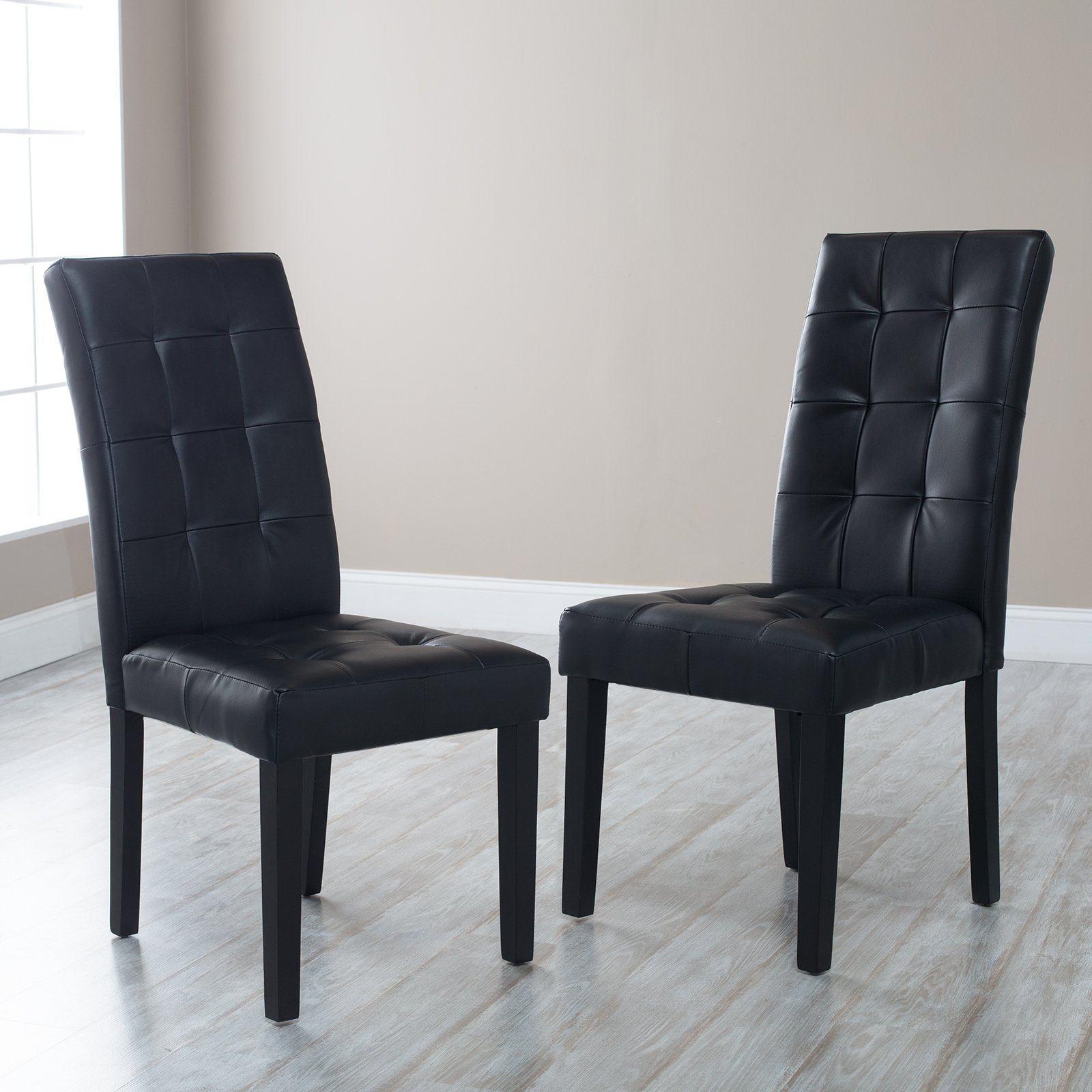 Chic Martha Bonded Leather Parsons Dining Chair - Set of 2 - Dining parsons dining chairs