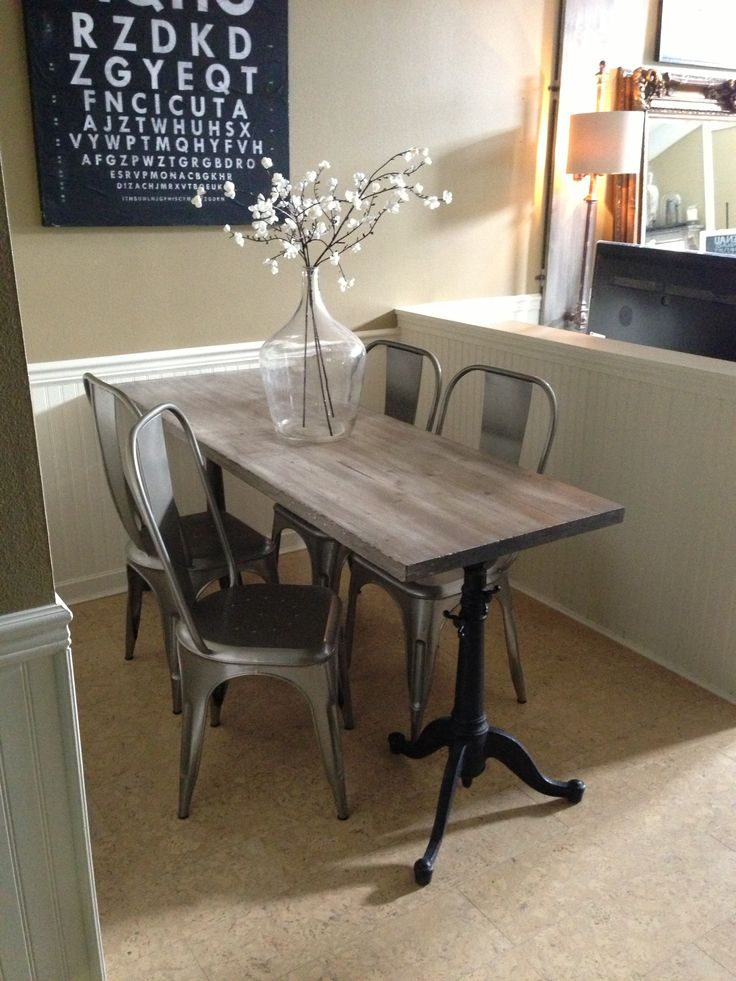 Chic Narrow dining table for narrow space. Industrial chic, drafting table base, small dining room sets