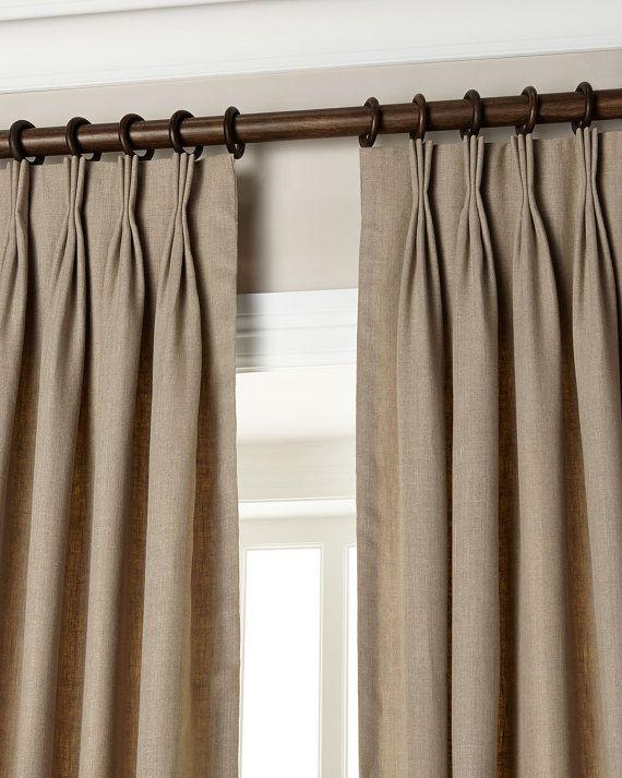 Chic Natural Gray 20u0027u0027 Triple Pinch Pleat Curtains / Drapes / Panels pinch pleat drapes