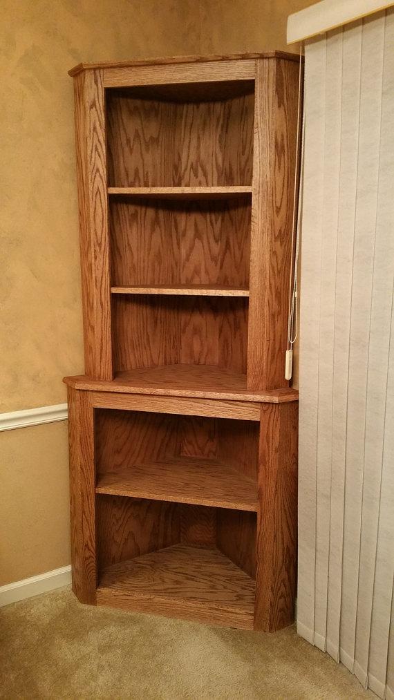 Chic Oak Corner Hutch Cabinet Curio Bookcase Shelf Dishware Display Case oak corner bookcase