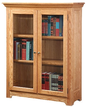 Chic ... Oak Shaker Bookcase With Full Gl Doors Hoot Judkins Furniture San oak bookcase with glass doors