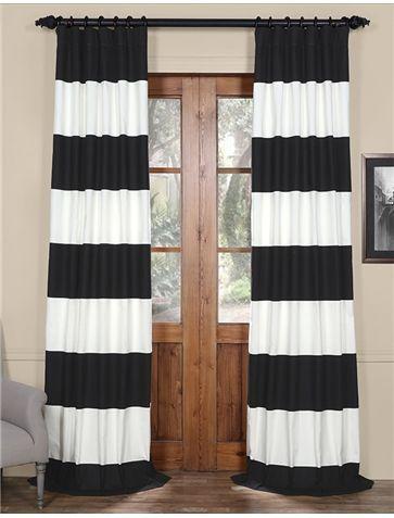 Chic Onyx Black u0026 Off White Horizontal Stripe Curtain horizontal striped curtains
