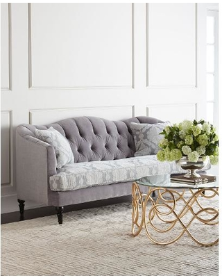 Chic Raylen Tufted Sofa, Grey/Gray gray tufted sofa