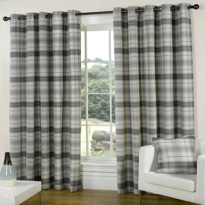 Chic TARTAN CURTAINS SILVER GREY SLATE PEWTER EYELET Ring Top Pair  SIZE:46X90 grey tartan curtains