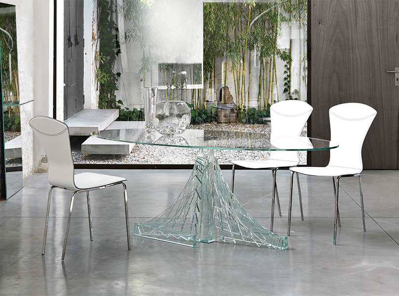 Chic Unique glass dining table oval glass dining table