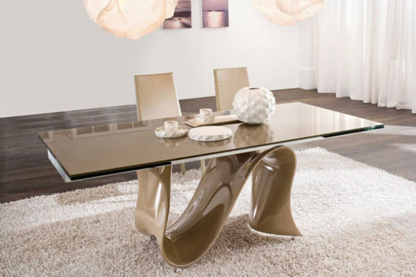 Compact A great choice - Dining table with glass top. It gives the dinning latest dining table designs with glass top