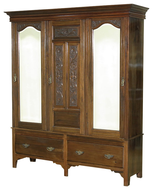 Compact Consigned Antique Walnut Victorian Sectional Armoire Wardrobe Closet  victorian-armoires-and-wardrobes armoires and wardrobe closets